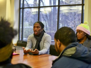 Towson University students and faculty participated in a discussion at Susquehanna Terrace after protesting on Dec. 12. Abby Murphy/ The Towerlight