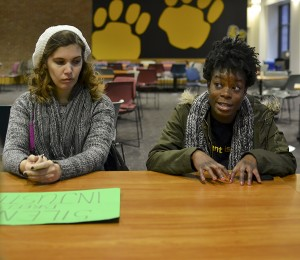 Towson University students and faculty participated in a discussion after protesting on Dec. 12. Abby Murphy/ The Towerlight