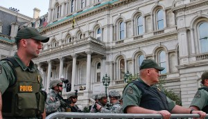 National guard standing outside of Baltimore City Hall. Photo by Cody Boteler.