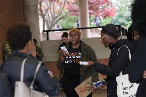 Student Activist Korey Johnson in Freedom Square while students prepare to march to the Administration Building.