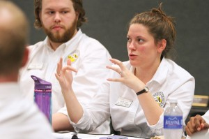 Students giving their input at the student fee forum. (Photo by Patrick Burke/The Towerlight.)