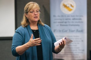 VP for Student Affairs Deb Moriarty presents at the student fees forum. (Photo by Patrick Burke/The Towerlight.)