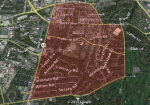 A map showing the proposed pilot area in Towson. Photo illustration by Cody Boteler/The Towerlight.