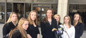 The seven women who gave victim impact statements in court speak to reporters outside of the Baltimore County Circuit Court.