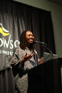 Photos by Stephanie Ranque/ The Towerlight Opal Tometi talks about her experiences with race activism and the Black Lives Matter social movement during an on-campus discussion March 30.