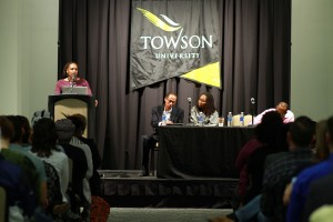 Photos by Stephanie Ranque/ The Towerlight Black Lives Matter leaders Rev. Dr. Heber Brown, Bree Newsome and Opal Tometi  talk about their experiences with race activism and the Black Lives Matter social movement during an on-campus discussion March 30.