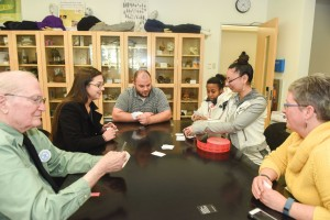 "Anthropology department faculty play ""Cards Against Anthropology"" with students during a Feb. 18 celebration of World Anthropology Day. Photo courtesy of Laurena Castellana/Towson University"