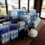 The water cases and bottles donated by Towson University students and student groups. Cody Boteler/The Towerlight