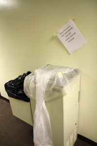 An out-of-service water fountain inside the church in Flint, Michigan. Cody Boteler/The Towerlight