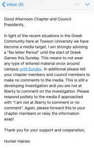 A copy of the email sent from IFC President Hunter Haines that was obtained by The Towerlight.