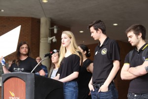 Nora Holzinger, a member of TUWARS, speaks during the rally.