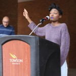 Breya Johnson speaks at the rally.