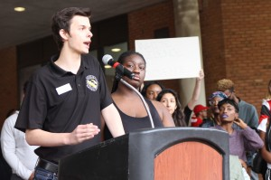 James Mileo, a candidate for SGA vice president and a member of TUWARS, address the rally.