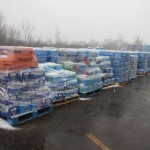 Pallets of water that have been donated to the church to distribute. Cody Boteler/The Towerlight