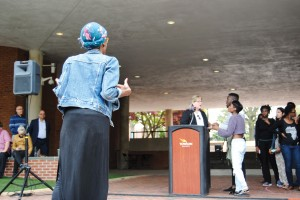 Student activists Bilphena Yahwan, Breya Johnson and others address Associate Vice President for Student Affairs Deb Morairty.