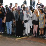 A student-lead, interfaith prayer circle after the rally.
