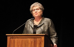 Kim Schatzel at her first spring address. Since coming to TU, she has exhibited a commitment to diversity on campus.