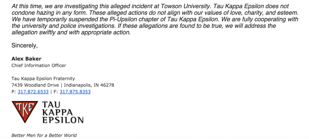 The emailed statement from TKE's national office.