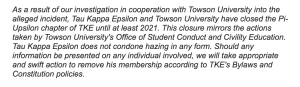 The statement from the national TKE organization.