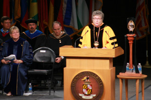 Towson President Kim Schatzel at convocation.