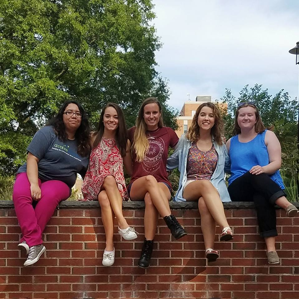 Members of the 2016-2017 Active Minds executive board, Jazzy Villalta, Nicole Libbey, Kathleen McAdam, Callie Vislay and Kathleen Fiorello pose together on campus.