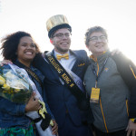 Towson President Kim Schatzel stands with Homecoming Queen Dominique Overman and Homecoming King Will Knight. Photo by Joe Noyes.