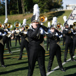The marching band performs during the homecoming game. Photo by Joe Noyes.