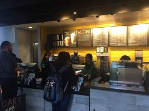 Despite long lines, Starbucks has so far been able to get customers served pretty quickly. Photo by Cody Boteler.