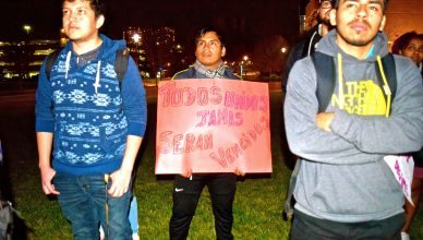 Students protest in favor of making Towson a sanctuary campus. Photo by Anagelica Gonzalez