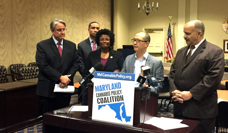 From left to right: Sen. Richard Madaleno, Sen. Will Smith, Del. Mary Washington, Del. David Moon & Del. Curt Anderson announce their proposal to bring legal marijuana to Maryland. Photo by Cody Boteler.
