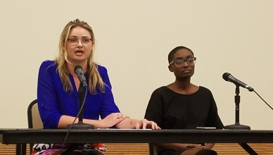 Missy Ronan, Left, and Breya Johnson, Right, are the two candidates for Vice President. Photo by Marcus Dieterlie.