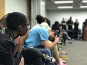 Vice-president elect Breya Johnson waiting for the results of the election. Photo by Cody Boteler.