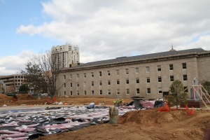 Patriot Plaza, located between the Baltimore County circuit court and historic courthouse buildings, is under construction. (Marcus Dieterle/ The Towerlight)