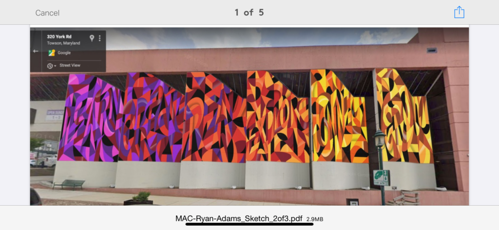 A 3D digital illustration of the Baltimore County Public Library and what the entire mural will look like placed on the the front wall. From left to right, the six wall panels feature the six words, learn, create, read, explore, connect and grow.